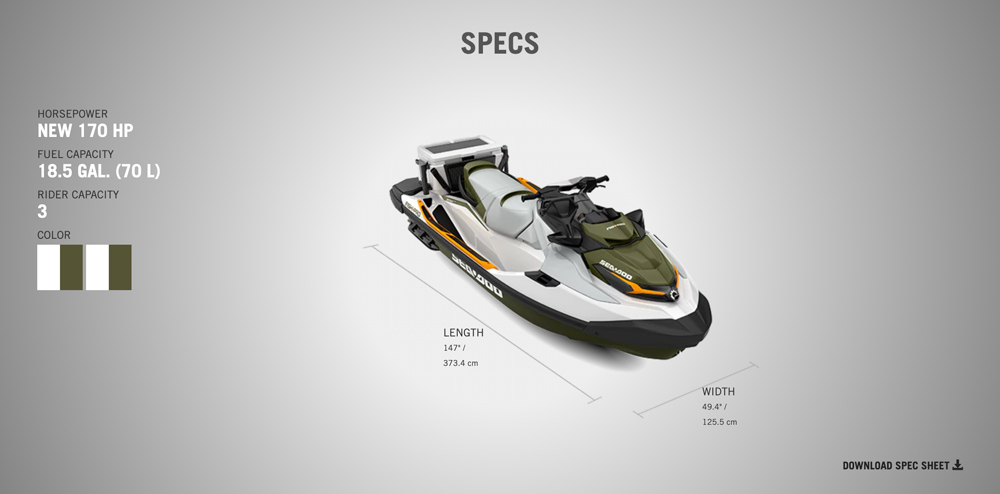 download a spec sheet for 2020 Sea doo fish pro from jolly roger marina