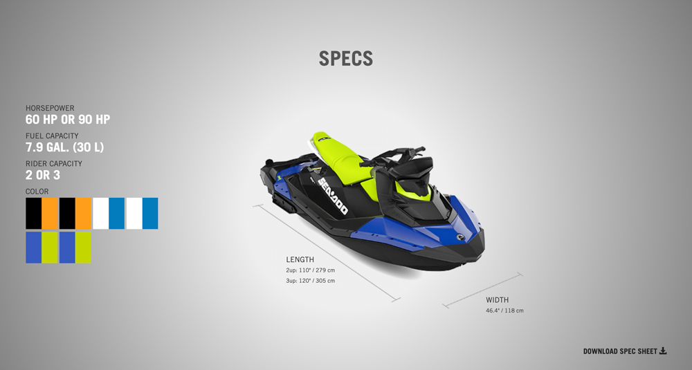 specs for the spark seadoo 2020