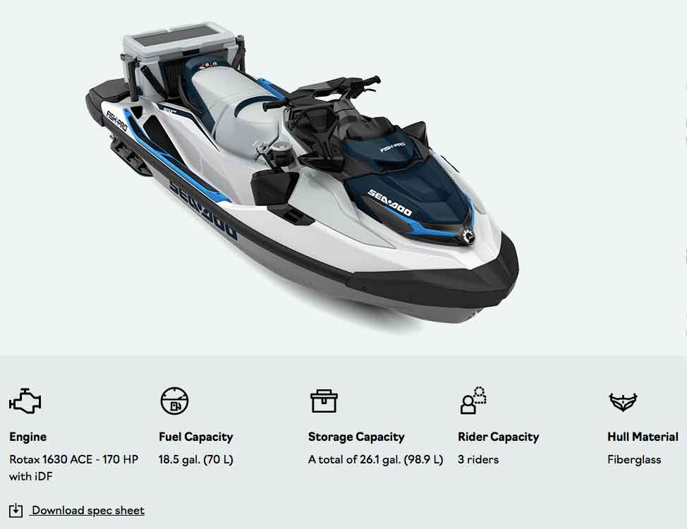 download a spec sheet for 2021 Sea doo fish pro from jolly roger marina