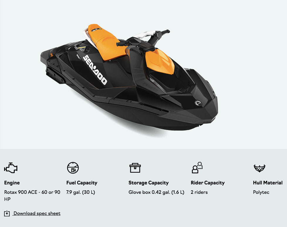 specs for the spark seadoo 2021